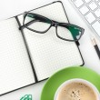 Coffee cup and office supplies - Stock Photo