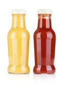 Senap och ketchup glasflaskor — Stockfoto