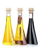 Olive oil and vinegar bottles — Stock Photo