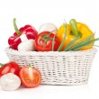 Fresh vegetables and mushrooms in basket — Stock Photo