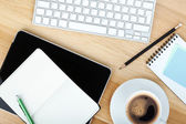 Office supplies, gadgets and coffee cup — Stok fotoğraf