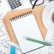 Blank notepad with pen — Stock Photo