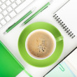 Coffee cup and office supplies — Stock fotografie