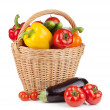 Fresh ripe vegetables in basket - Stock Photo