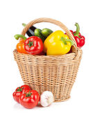 Fresh ripe vegetables in basket — Stock Photo