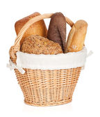 Picnic basket with various bread — Stok fotoğraf