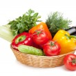 Fresh ripe vegetables in basket — Stock Photo #27194209