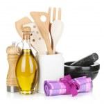 condimentos e utensílios de cozinha — Foto Stock
