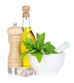 Condiments and herbs — Stock Photo
