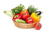 Fresh ripe vegetables in basket — Stock Photo