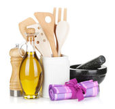 Kitchen utensils and condiments — Stock Photo