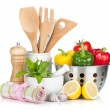 Stock Photo: Fresh ripe vegetables, condiments and kitchen utensils