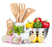 Fresh ripe vegetables, condiments and kitchen utensils — Stock Photo