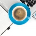 caffè tazza e forniture d'ufficio — Foto Stock