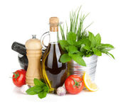 Fresh herbs, tomato, olive oil and pepper shaker — Stock Photo