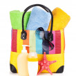 Stock Photo: Bag with towels, sunglasses and beach items