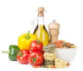 Fresh ripe vegetables, pasta and condiments — Stock Photo