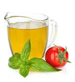 Oliwa z oliwek, pomidorów i bazylii — Zdjęcie stockowe