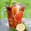 Refreshing fruit sangria (punch) — Stock Photo