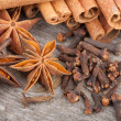 Anise, cinnamon and clove spices — Stock Photo