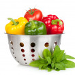 Fresh ripe vegetables in colander — Stock Photo