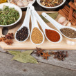 Stock Photo: Colorful herbs and spices selection