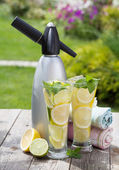 Homemade lemonade and siphon — Stock Photo