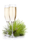 Champagne glasses and firtree — Stock Photo