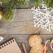 Christmas decor and blank notepad — Foto Stock