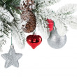 Stock Photo: Fir tree branch with christmas decor