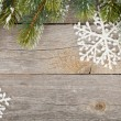 Christmas decor on wooden board background — Stock Photo