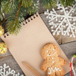 Christmas decor and blank notepad — Stock fotografie