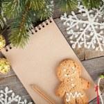 decoração de Natal e o bloco de notas em branco — Foto Stock