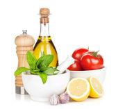 Fresh ripe vegetables, condiments — Stock Photo