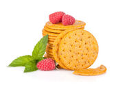 Stack of crackers with mint and berries — Stock Photo