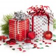 Two gift boxes and christmas decor — Stock Photo