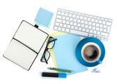 Koffie beker en kantoorbenodigdheden — Stockfoto