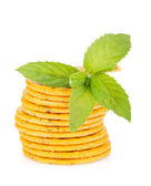 Stack of crackers with mint — Stockfoto
