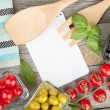 Blank notepad paper for your recipes and food — Stock Photo #34754313