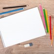 Blank paper and colorful pencils — Stock Photo #34754377