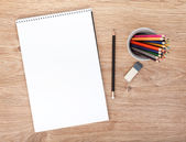 Blank paper and colorful pencils — Stock Photo