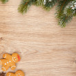 Christmas fir tree and gingerbread cookies — Zdjęcie stockowe