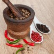Mortar and pestle with red hot chili pepper and peppercorn — Stock Photo #35665317