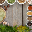 Colorful herbs and spices selection — Stockfoto
