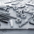 Nuts, screws and bolts closeup — Stock Photo