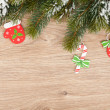 Christmas fir tree and decor — Stok fotoğraf
