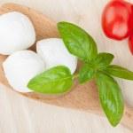 Mozzarella, tomatoes and basil — Stock Photo