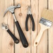 Stock Photo: Set of tools on wood background