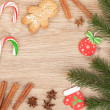 Christmas fir tree, gingerbread cookie and candy cane — Stock Photo