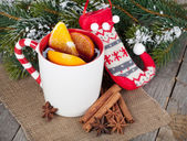Christmas mulled wine with fir tree — Stock Photo